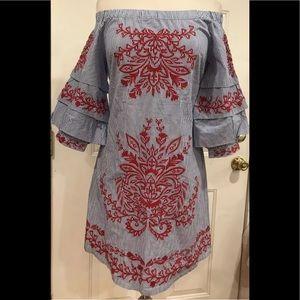INC off the shoulder pinstripe white blue dress PS